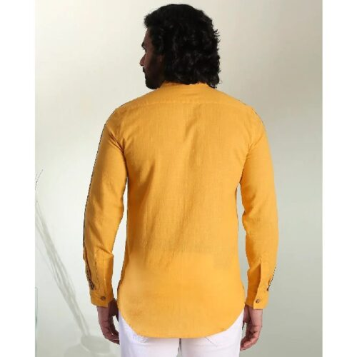 Mens Solid Sky Yellow Tape Shirt 1