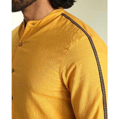 Mens Solid Sky Yellow Tape Shirt 2