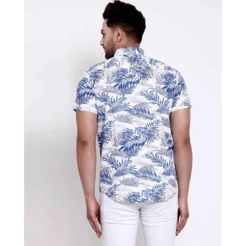 Mens White Floral Print Shirt