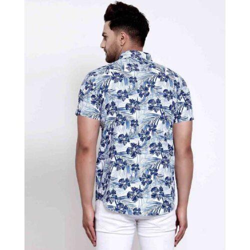 Mens White Floral Print Shirt 3