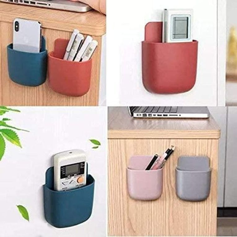 Mobile Holder- 2 In 1 With Self Sticky Pad & Hole Hook Wall Mounted MultiPurpose Mobile Holder (Pack of 4)