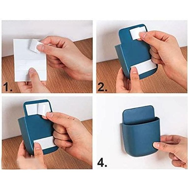 Mobile Phone Charging Stand Adhesive Wall Mounted Storage Holder for Home Bedroom Multi Functional (Pack of 4)