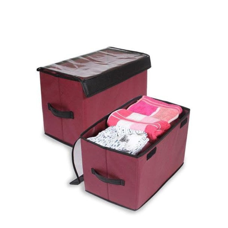 Multi Purpose Collapsible Storage Organizer with Transparent Lid Set of 3 5