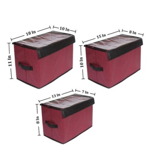 Multi-Purpose Collapsible Storage Organizer with Transparent Lid (Set of 3)