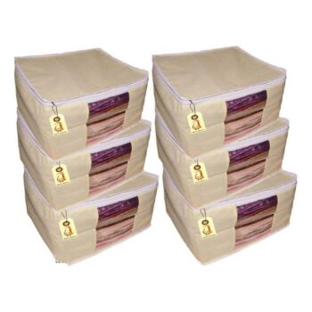 Non Woven Solid Saree, Suit, Clothes Organizer (Pack of 12)