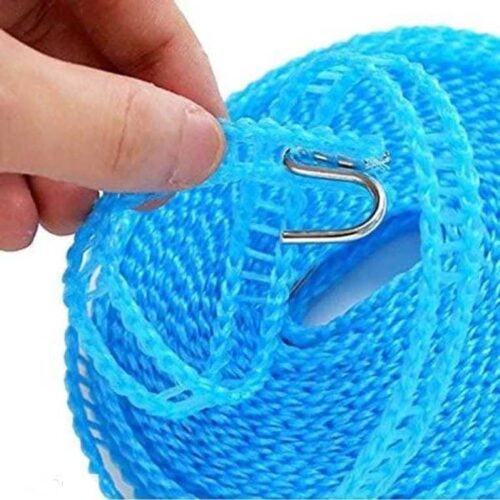 Nylon Clothesline Rope Windproof with Hooks Pack of 1 (5M)