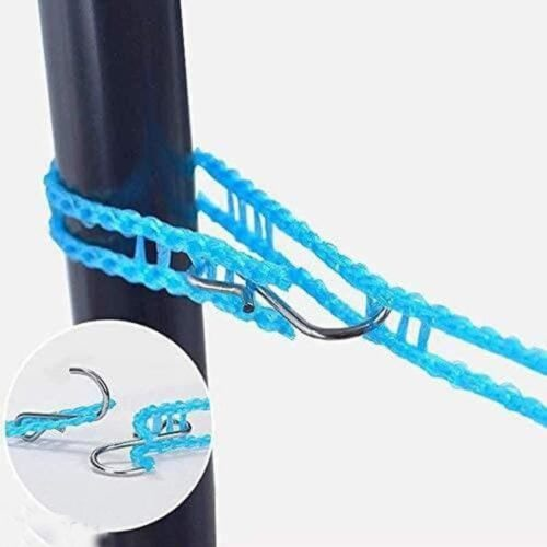 Nylon Clothesline Rope Windproof with Hooks Pack of 1 5M 3