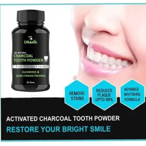 Oilanic Natural Organic Teeth Whitening Charcoal Powder   For Tobacco Stain, Tartar, Gutkha Stain and Yellow Teeth Removal   No Side Effect - (50 g)