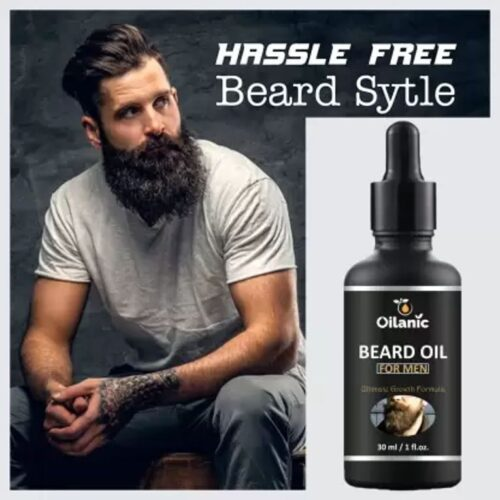 Oilanic Premium Beard Oil With Natural Ingredients -For Fast Beard Growth (30 ml) Hair Oil (30 ml)