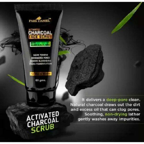 Park Daniel Activated Charcoal Face Scrub - For Remove Blackheads, Minimizes pores, Clear Toxins & Fades Pigementation (60 gm)