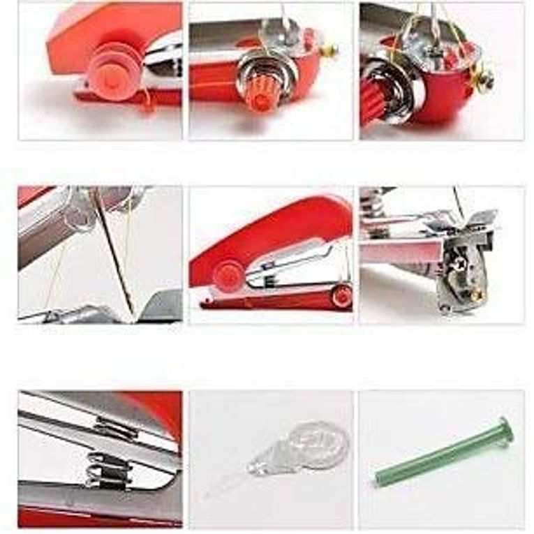Pocket Portable Mini Manual Stapler Style Handheld Sewing Machine Craft, Clothes Stitch Handheld Cordless, Travel Use Convenience Cordless
