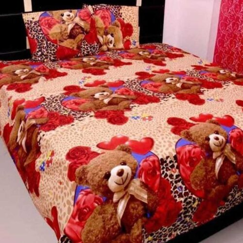 Polycotton Printed Double Bedsheet with 2 Pillow Cover