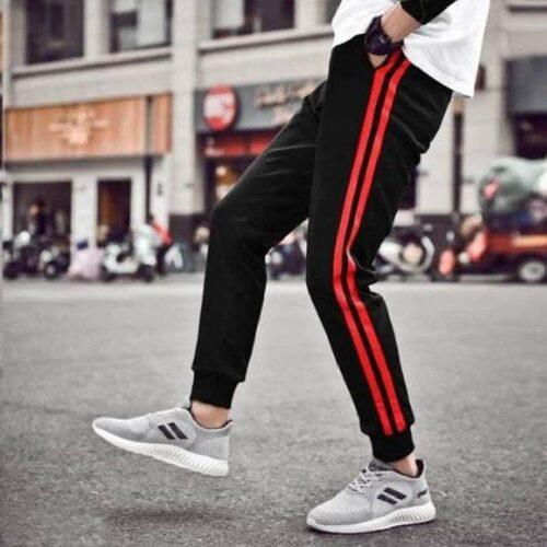 Polyester Blend Striped Slim Fit Track Pant for Men