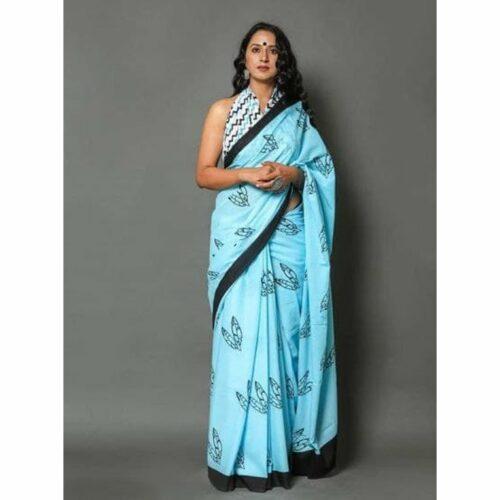 Premium Jaipuri Print Cotton Mulmul Saree