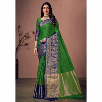 Pretty Cotton Silk Saree Solid Paisley With Jacquard Border