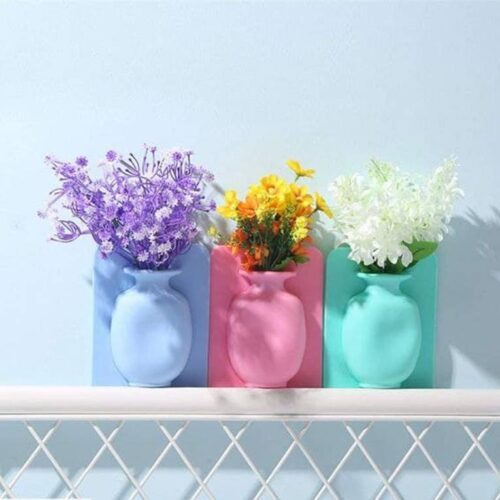 Removable Silicone Vases Strong Adhesion Magic Flower Pot Kitchen 5