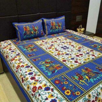 Sanganeri Jaipuri Printed Bedsheet Cotton Double Bedsheet