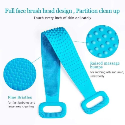 Silicone Back Scrubber Bath Brush Washer For Dead Skin Removal Mens Womens Double Side Brush Belt For Shower Exfoliating Belt Easy to Clean Lathers Well Multicolor Body Scrubber Belt 5