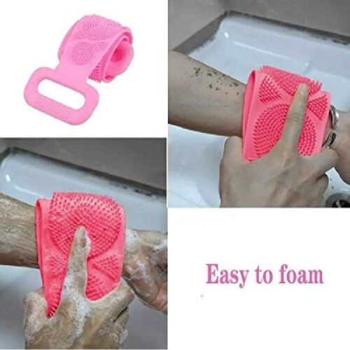Silicone Back Scrubber Bath Brush Washer For Dead Skin Removal Mens Womens Double Side Brush Belt For Shower Exfoliating Belt Easy to Clean Lathers Well Multicolor Body Scrubber Belt 6