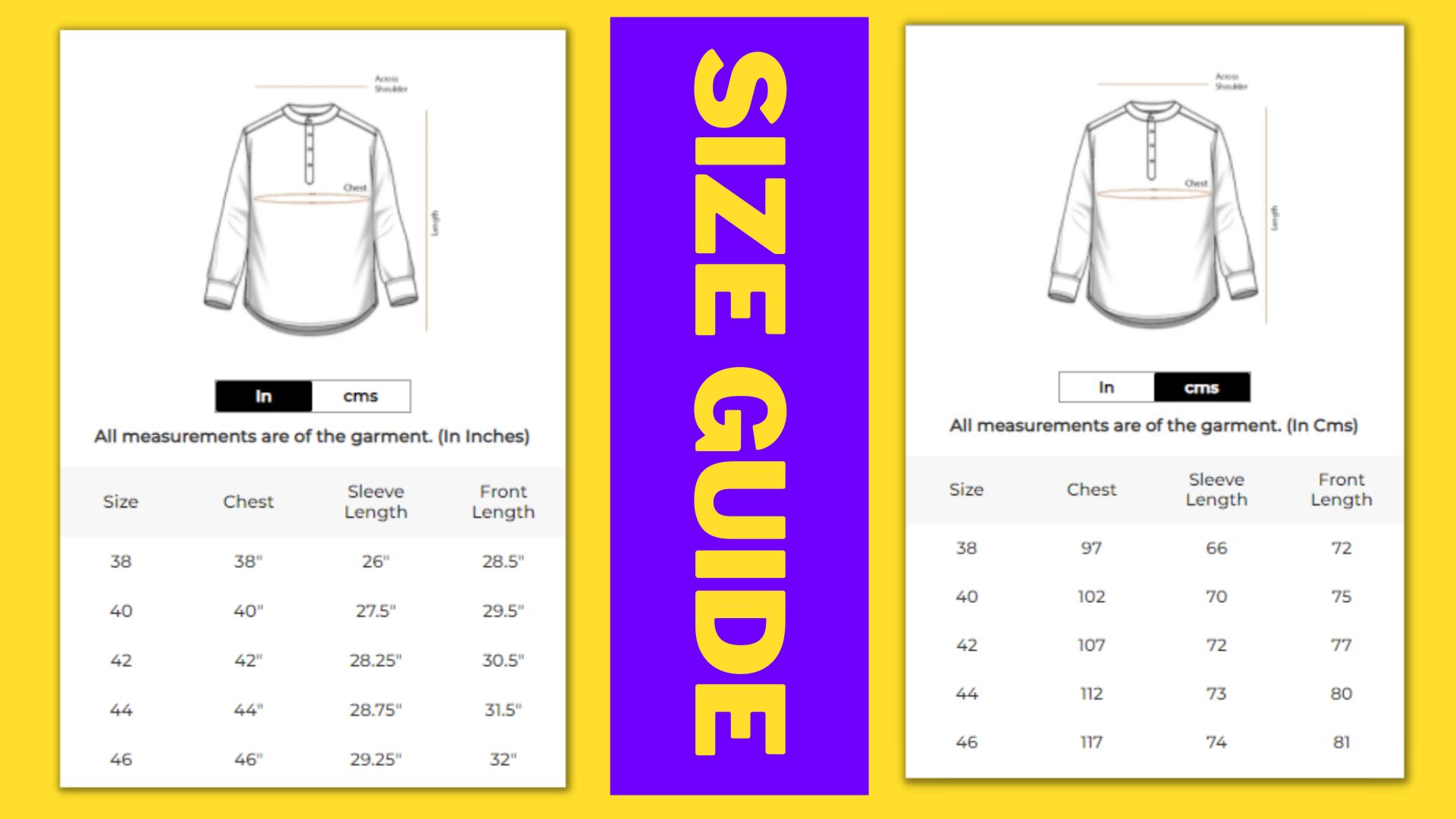 Size Guide Shirts Bewakoof