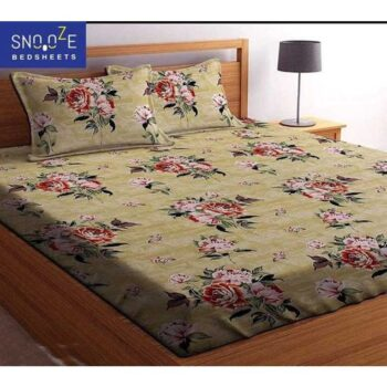 Snooze Fitted Elastic Cotton Double Bedsheet