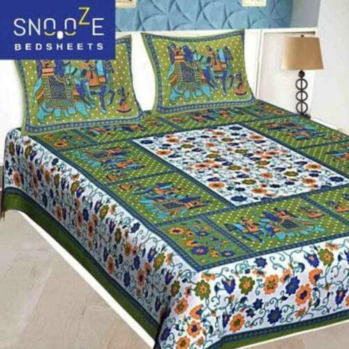 Snooze Jaipuri Printed Bedsheet Cotton Double Bedsheet