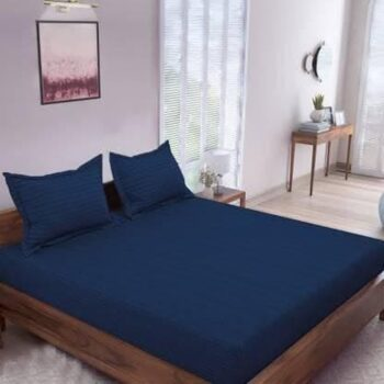 Solid Striped Bedsheet Elasticated Fitted Double Bedsheet