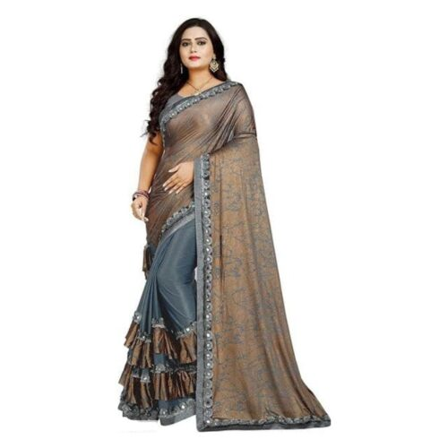 Special Foil Print Lycra Saree With Ruffle Border & Mirror work