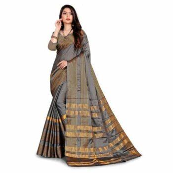 Stunning Solid Cotton Silk Saree With Stripes Border