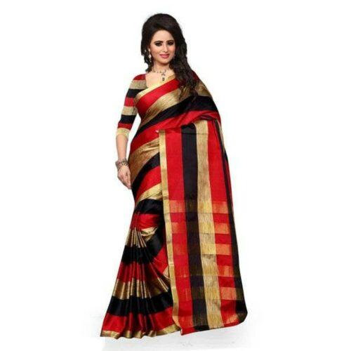 Traditional Cotton Silk Saree With Zari Work Border