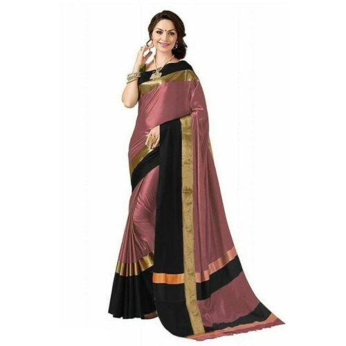 Trendy Cotton Silk Solid With Zari Regular Saree