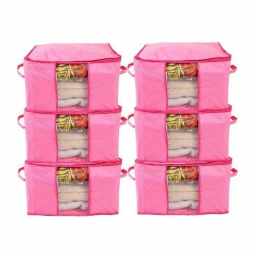 Underbed Storage Bag, Storage Organizer, Blanket Cover with Side Handles (Set of 6)