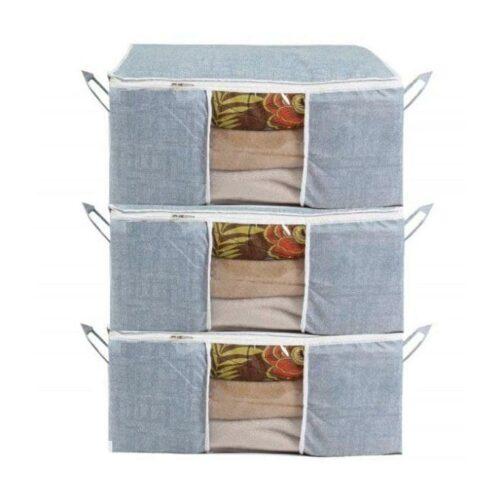 Underbed Storage Bag, Storage Organizer, Blanket Cover with Side Handles (Set of 3)