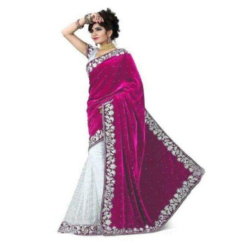 Varnam Gorgeous Embroidered Velvet Saree