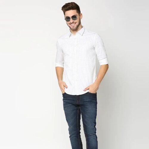 White Twill Lycra Print Shirt 2