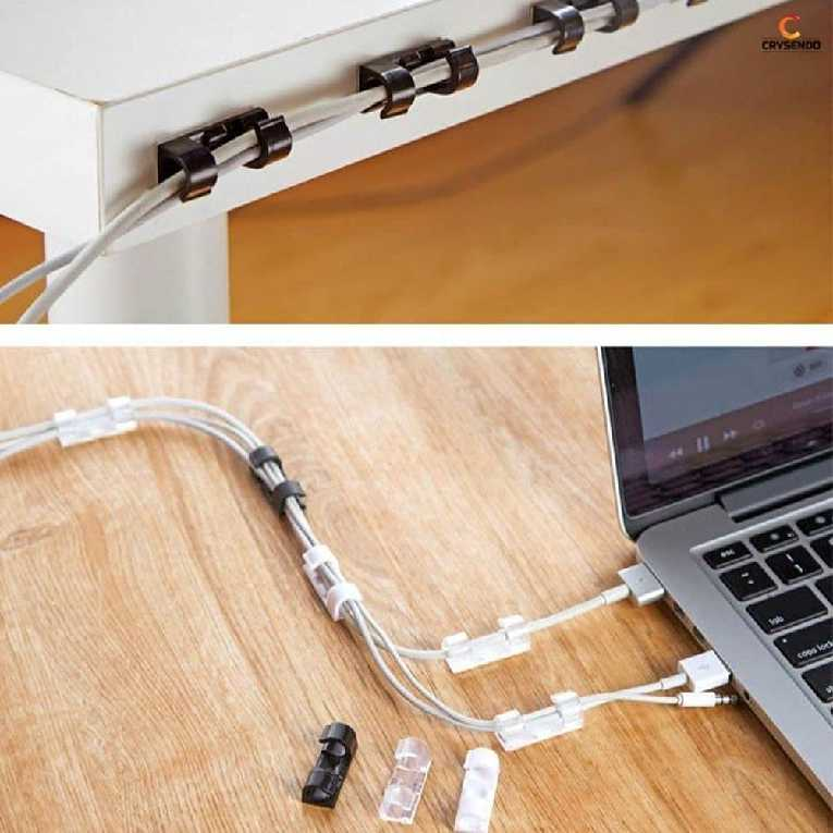 Wire Holder Clamp-Self Adhesive Cable Clip, Wire Holder Clamp Cord Organizer Desktop Cable, Car, Office and Home (Pack of 20)