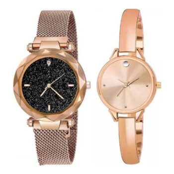 Women Stainless Steel Analog Watch Pack Of 2