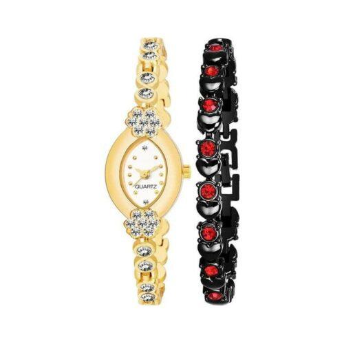 Women's Metal Watch and Bracelet Combo