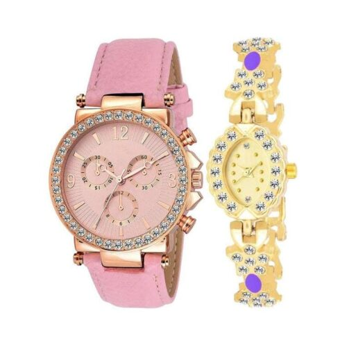 Women's PU Leather and Metal Watch (Pack Of 2)