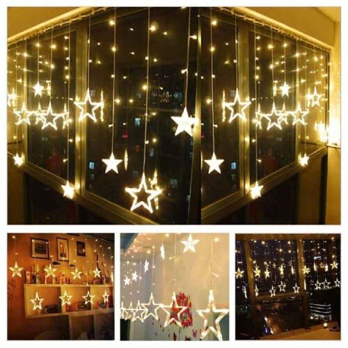 12 Stars LED Curtain String Lights Window Curtain Led Lights for Decoration with 8 Flashing for Christmas Wedding Party Home Patio Lawn Warm White 1