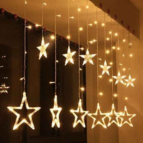12 Stars LED Curtain String Lights Window Curtain Led Lights for Decoration with 8 Flashing for Christmas Wedding Party Home Patio Lawn Warm White 5