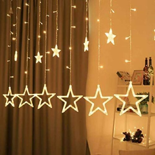 12 Stars LED Curtain String Lights Window Curtain Led Lights for Decoration with 8 Flashing for Christmas, Wedding, Party, Home, Patio Lawn ( Warm White)