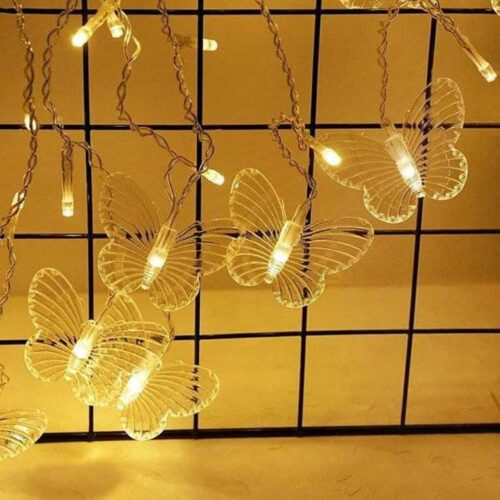 16 LED 3 Meter Butterfly Fairy String Lights, Christmas Lights for Diwali Home Decoration Plastic Material (Warm White) (Butterfly 16 Led)