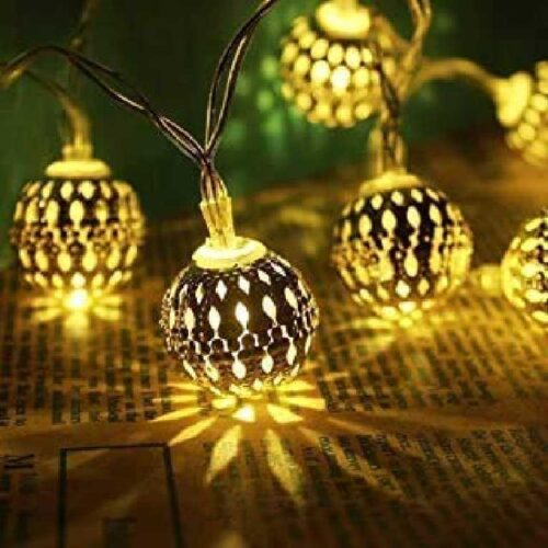16 LED Hanging Lantern String Ball Lights Plug Sourced for Indoor Outdoor DecorationsWarm White Multicolor 1