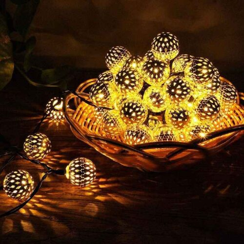 16 LED Hanging Lantern String Ball Lights Plug Sourced for Indoor Outdoor DecorationsWarm White Multicolor 3