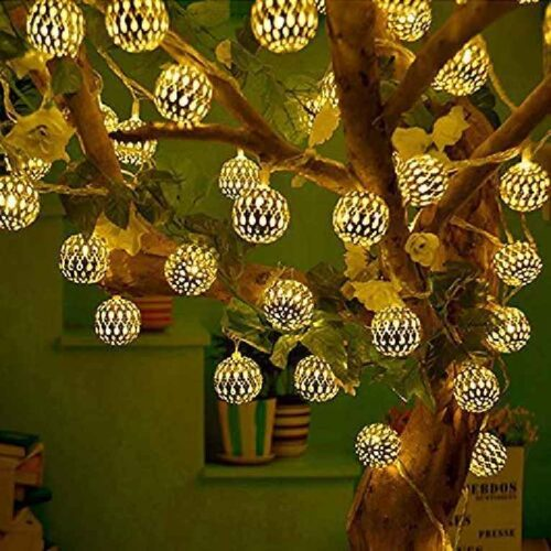 16 LED Hanging Lantern String Ball Lights Plug Sourced for Indoor Outdoor DecorationsWarm White Multicolor 4