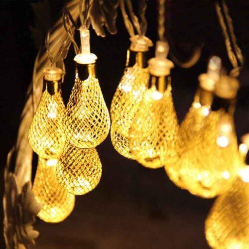 18 Led Golden Metal Rain Drop Copper String Fairy Light for Home Office Diwali Eid Christmas Decoration Warm White 2