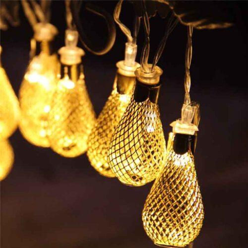 18 Led Golden Metal Rain Drop Copper String Fairy Light for Home Office Diwali Eid Christmas Decoration Warm White 3