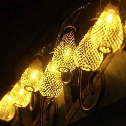 18 Led Golden Metal Rain Drop Copper String Fairy Light for Home Office Diwali Eid Christmas Decoration Warm White 4