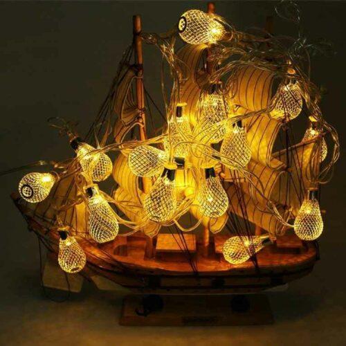 18 Led Golden Metal Rain Drop Copper String Fairy Light for Home Office Diwali Eid Christmas Decoration Warm White